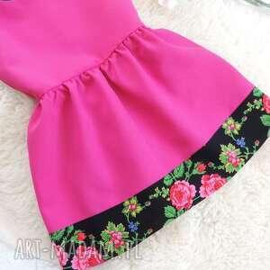 różowe ubranka sukienka różowa góralska folkowa