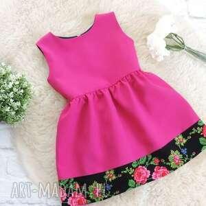 handmade ubranka sukienka różowa góralska folkowa