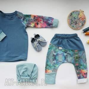turkusowe ubranka spodnie-dresowe spodenki dla dziewczynki niebo 74