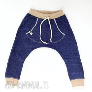 nietypowe ubranka spodnie granatowe melanż baggy