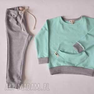niesztampowe ubranka spodnie w stylu jogger szary melanż