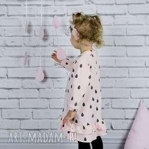 różowe ubranka sukienka dla dziewczynki krople