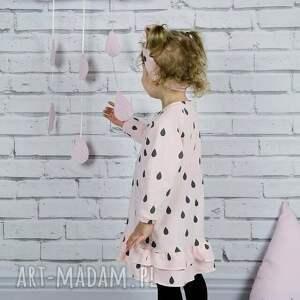 szare ubranka sukienka dla dziewczynki krople
