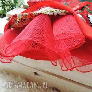 sukienka ubranka czerwone góralska tiulowa cleo roz