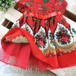 białe ubranka góralska sukienka tiulowa cleo roz
