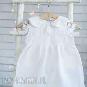 frapujące ubranka chrzest sukienka lniana do chrztu