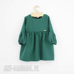 unikalne kokarda sukienka z bufkami zielona