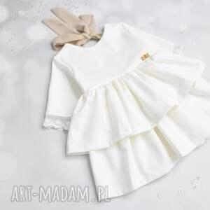 białe sukienka dla dziewczynki z falbanami