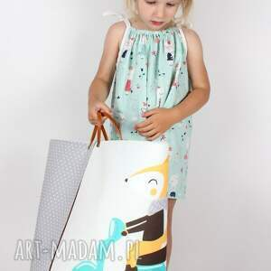 turkusowe ubranka sukienka z kotkami