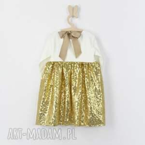 wyjątkowe ubranka cekiny sukienka zlota ecru z cekinami