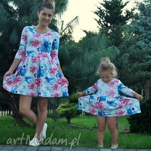 dzianina ubranka sukienki dla mamy i córki koliber