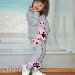 nietypowe dresowe spodnie szare , bawełna, różowe psie
