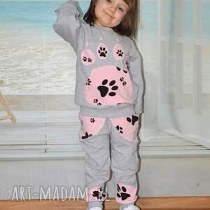 dresowe spodnie szare , bawełna, różowe psie