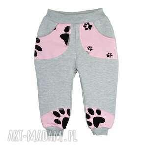 nietypowe ubranka dresowe-spodnie szare spodnie, bawełna, różowe psie