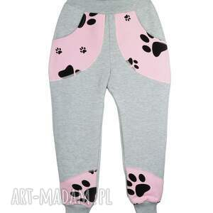 dresowe-spodnie ubranka szare spodnie, bawełna, różowe psie