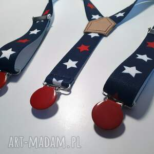 czerwone szelki gwiazdki z czerwonym