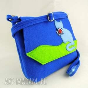 niesztampowe dziecko torebka filcowa - niebieska