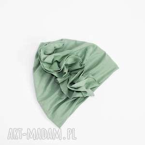 turkusowe ubranka czapka turban z podwojnej bawelny