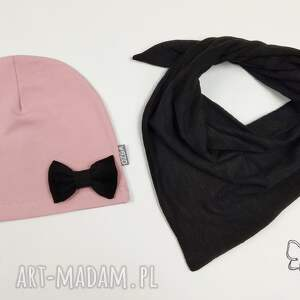 jesień ubranka różowe zestaw czapeczka i chusta -