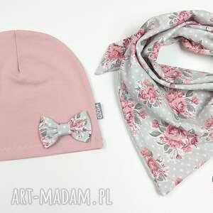 ubranka dziewczynka zestaw czapeczka i chusta -