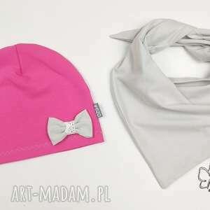 szare ubranka jesień zestaw czapeczka i chusta -