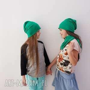 czapka zestaw & komin zieleń