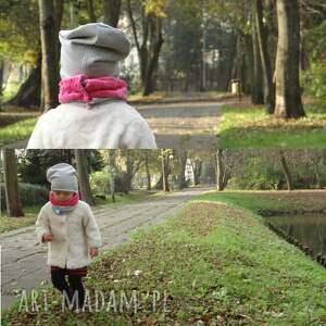 różowe ubranka komin zestaw z czapką minky