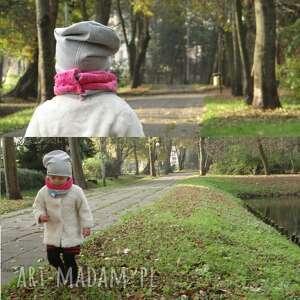 czerwone ubranka czapka zestaw komin minky/dresówka