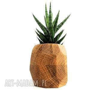 ręcznie wykonane wazony doniczka drewniana na sukulenty geometryczna