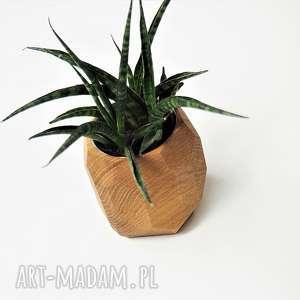 brązowe wazony doniczka geometryczna - planter na