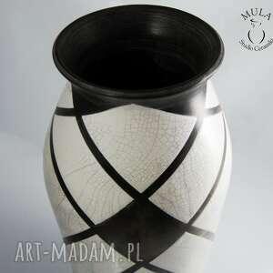 handmade wazony raku wazon biało czarny