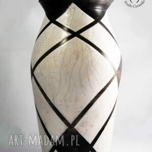 ceramika wazony wazon raku biało czarny