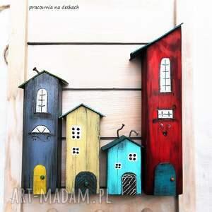 kolorowe domki wieszak - na prezent malowane recznie
