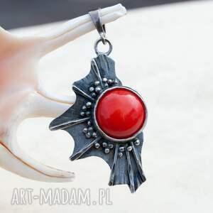czerwone wisiorki wisiorek a494 srebrny wisior z koralem