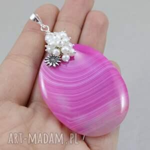 agat wisiorki różowe różowy perły i srebro -