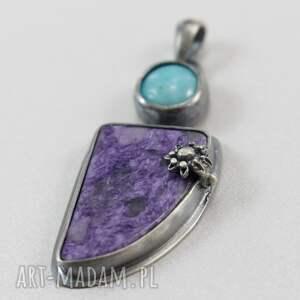 fioletowe wisiorki amazonit czaroit i srebro - wisior