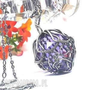 handmade wisiorki swarovski ametystowy fasetowany kryształ