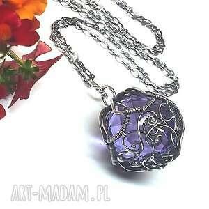 fioletowe wisiorki ametystowy fasetowany kryształ