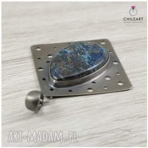 azuryt wisiorki niebieskie chryzokola srebro - wisior