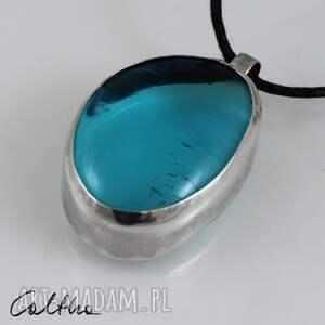 urokliwe wisiorki wisior błękit w srebrze - srebrny