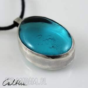 niebieskie wisiorki wisiorek błękit w srebrze - srebrny wisior