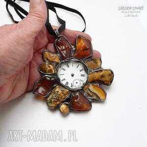 bursztyn wisiorki bursztynowy zegar, wisior