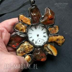 efektowny wisiorki bursztynowy zegar, wisior