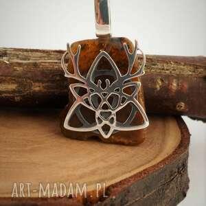 hand-made wisiorki srebro celtycki wisior z bursztynem