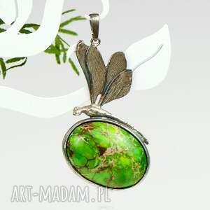 atrakcyjne wisiorki srebrny wisiorek cesarska ważka - zielony naszyjnik