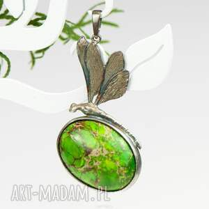 zielone wisiorki zielony wisiorek cesarska ważka - naszyjnik