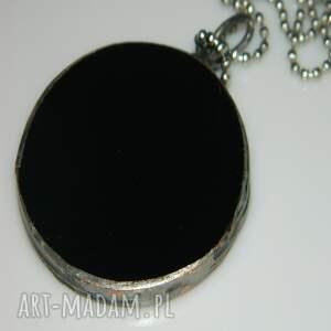 srebrne wisiorki wisior-miedziany czarny witraż