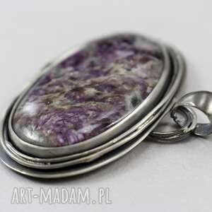 czaroit wisiorki fioletowe i srebro - duży wisior