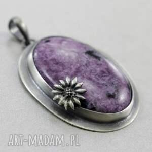 czarne wisiorki srebro czaroit z kwiatkiem - srebrny