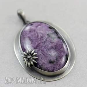 czaroit wisiorki fioletowe z kwiatkiem - srebrny